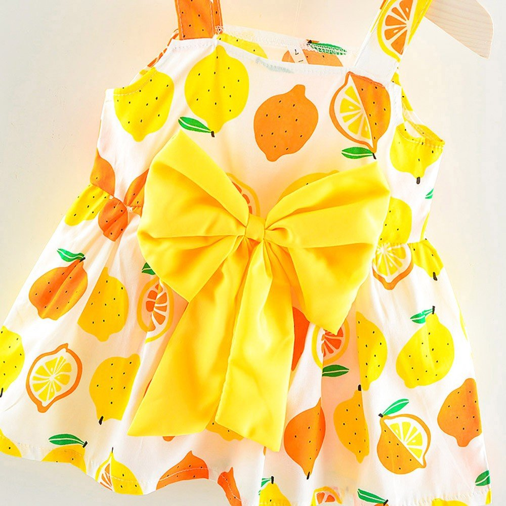 Deloito Girls Dress,0-2 Years Old Newborn Toddler Baby Girls Summer Sleeveless Bowknot Sundress Lemon Print Strap Princess Party One-Piece Skirt Casual Dress Outfit Clothes