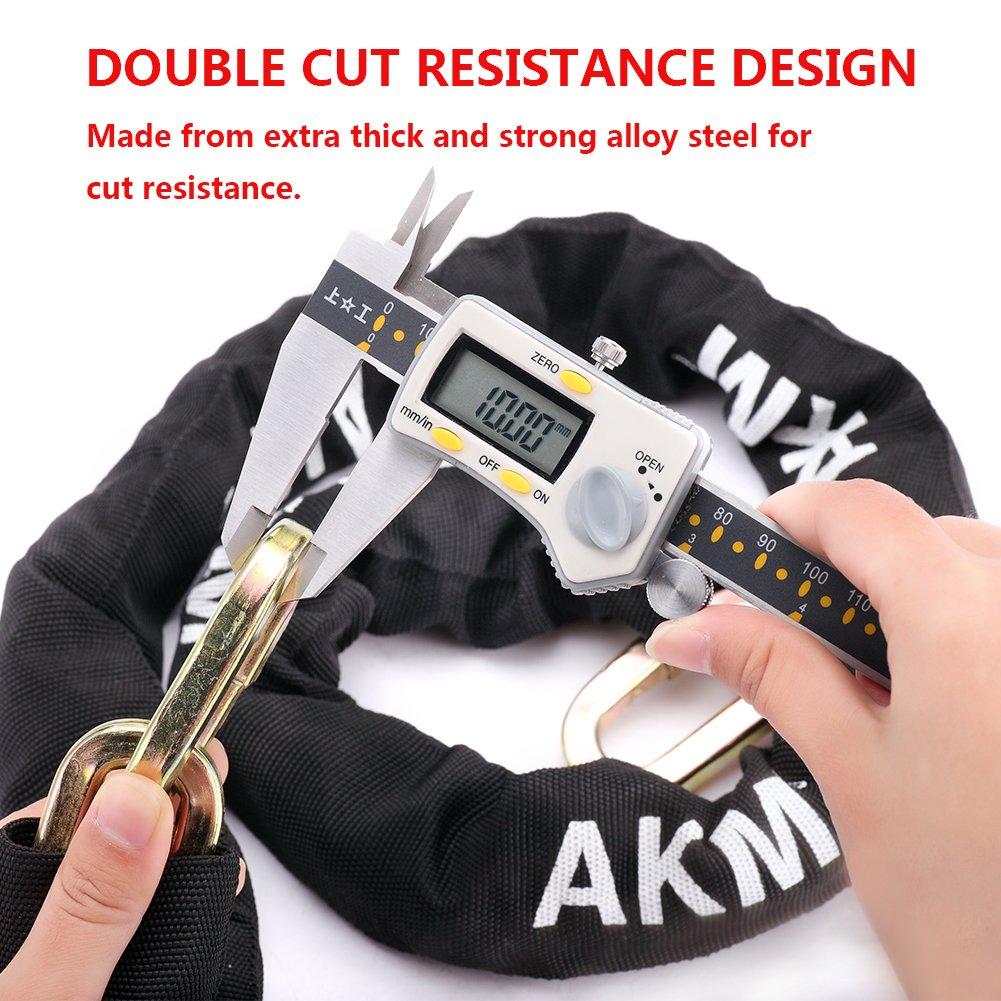 AKM Security Bike Chain Lock Heavy Duty Bicycle lock Bike Disc Lock with 16mm U Lock,4-Feet Motorbike Lock Black by AKM (Image #3)