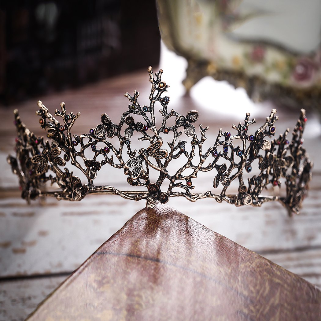Edary Bridal Wedding Queen Crowns and Tiaras Baroque Black Flower Hair Accessories for Women by Edary (Image #5)