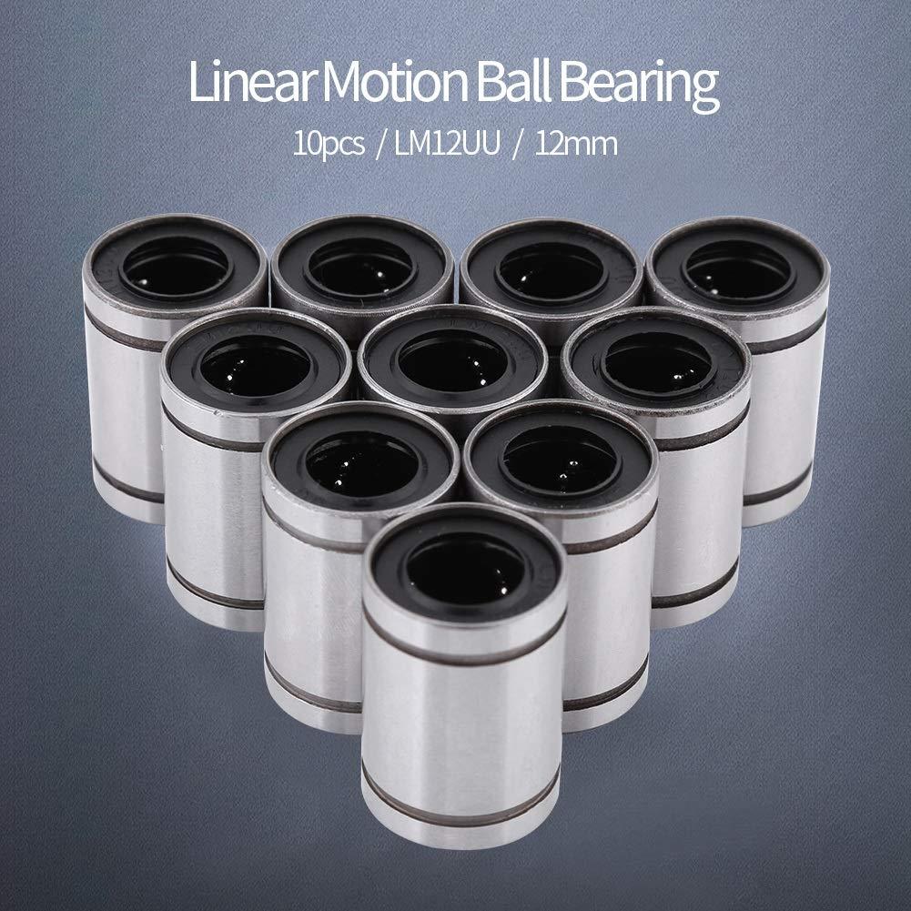 Bearing BiuZi 10Pcs LM12UU 12mm ID 20mm OD Linear Bearing Bushing Bearing Steel Linear Ball Bearing for 12mm Rod 3D Printer CNC Parts