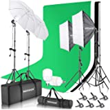 Neewer 8.5x10ft Backdrop Stand Support Kit with 6x9ft Background, 900W 5500K 24-inch LED Softbox and Umbrellas…