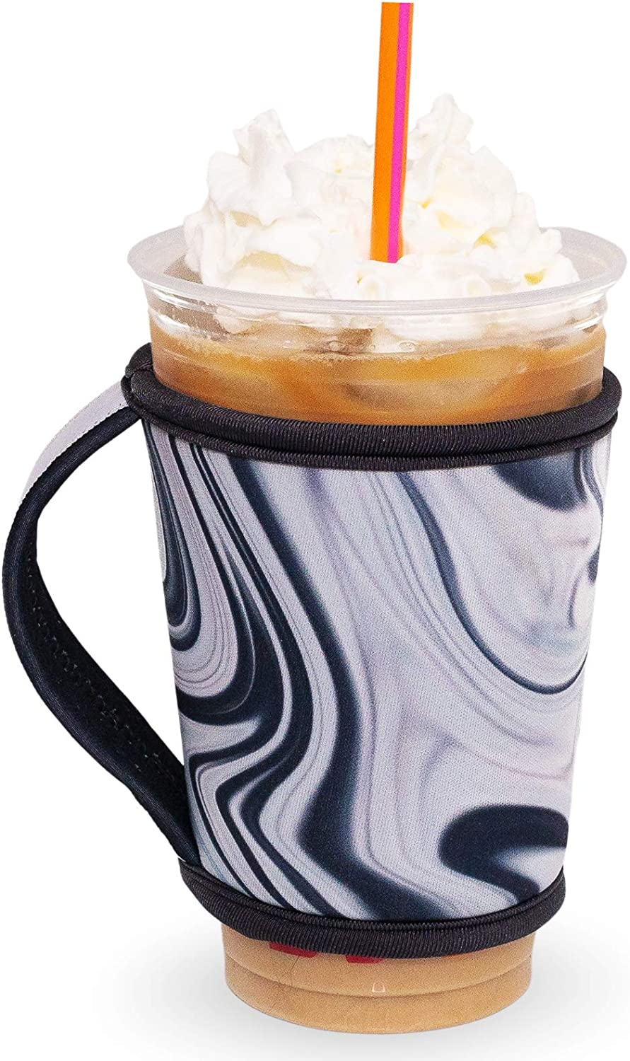 GoCuff Reusable Hot and Iced Coffee Cup Insulator Sleeve with Handle for Beverages and Neoprene Holder for Starbucks, McCafe, Dunkin Donuts, More (Medium, Large) (Black White Marble)