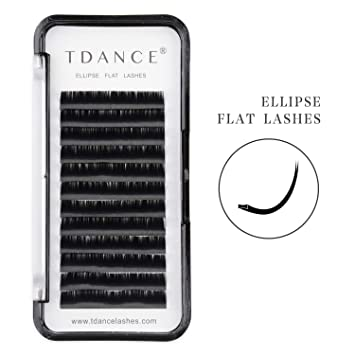 d87e42980c9 TDANCE Ellipse Eyelash Extensions 0.15mm D Curl Flat Eyelash Extension  Supplies 13mm Soft Light Ellipse