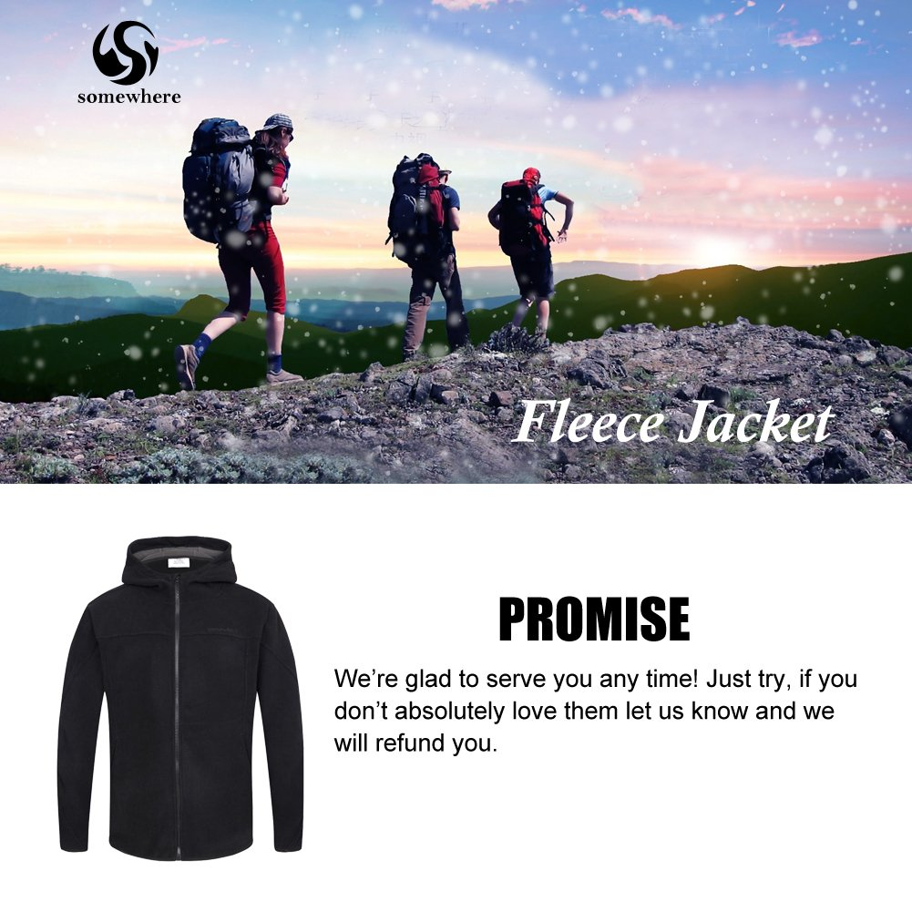 Somewhere Mountain Full Zip Fleece Jacket, Men's Full Front Zip Fleece Casual Lightweight Jacket, Best Birthday Gifts-Black,Small by Somewhere (Image #2)
