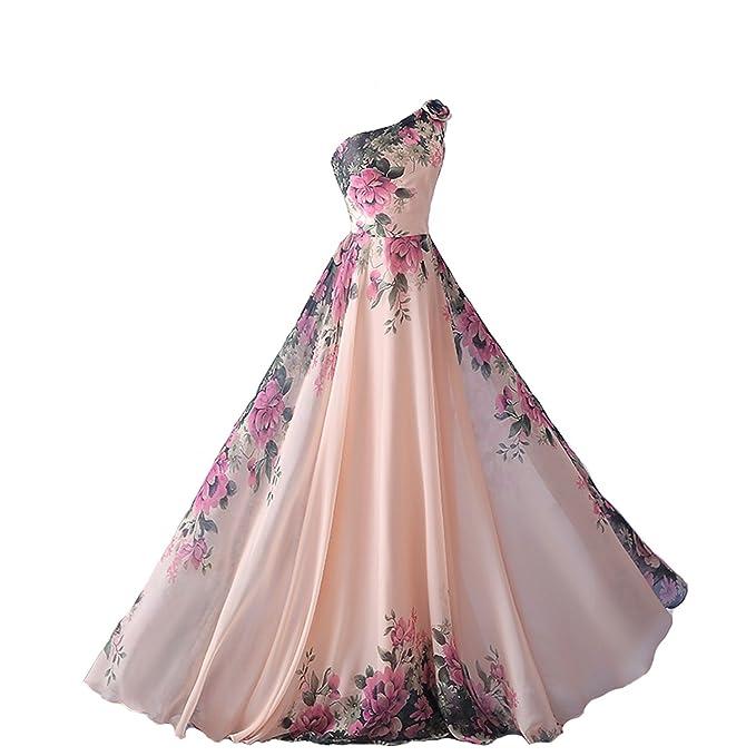 emmarcon abito da cerimonia donna damigella vestito lungo elegante floreale  da festa party-Pink- 008f6727b1d
