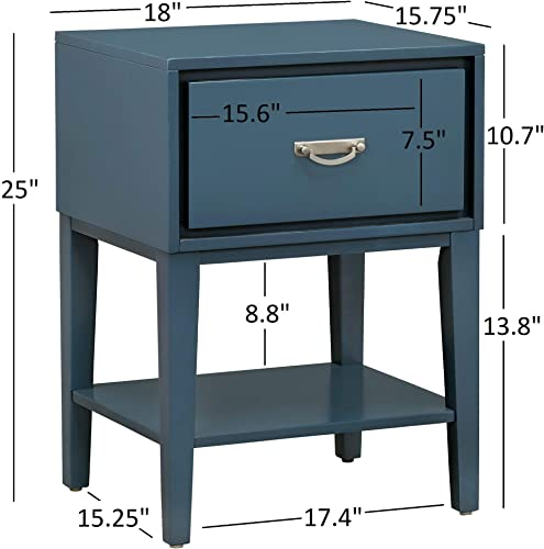 GTU Furniture Rectangle 1 Drawer Wood Accent Storage Nightstand Side Table End Table Black