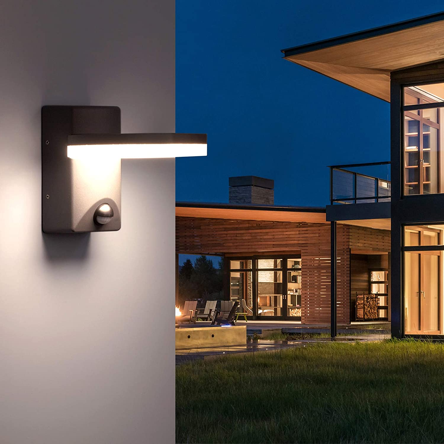 LIGHTMAN Outdoor LED Wall Light with Motion Sensor Outside Wall Lighting Mains Powered PIR Aluminium Body External Weatherproof lampshade lamp for House 800LM 12W 4000K IP44