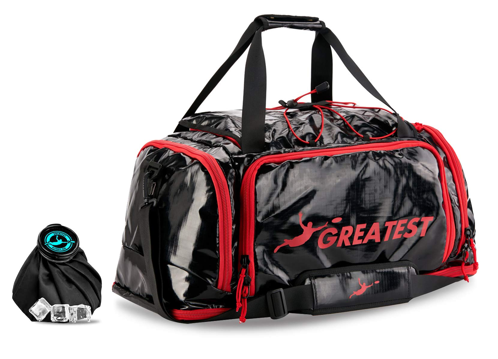 GREATEST Ultimate Bag 60 Liter - #1 World's Ultimate Frisbee Bag. Built in Insulated Cooler Compartment and Organization System. Also Perfect Sports Duffel Bag for Other Outdoor Sports - Red by GREATEST