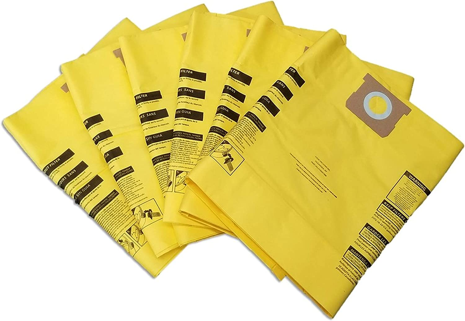 CASA VACUUMS Premium 6 Pack for Shop-Vac 15-22 Gallon, Compare to Part #'s 9067300 Hi-Efficiency - Type J - 90663 -Type G - 9066300 - Upgraded Multi-Layer Collection Bags