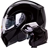 Dual Visor Modular Flip up Gloss Black Motorcycle Snowmobile Helmet DOT (L)