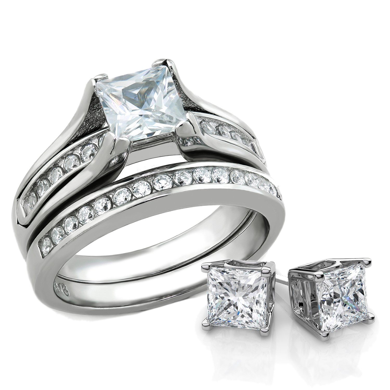 Bellux Style Women's 1 Carat Princess Cut Stainless Steel Wedding Rings Set & Matching Sterling Silver Stud Earrings (6)