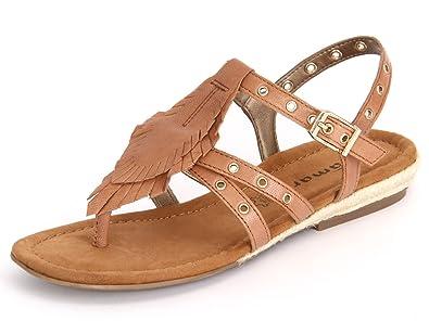 1-28185-36-440 Damen Sandale City Leder Braun (Nut), 37 EU Tamaris