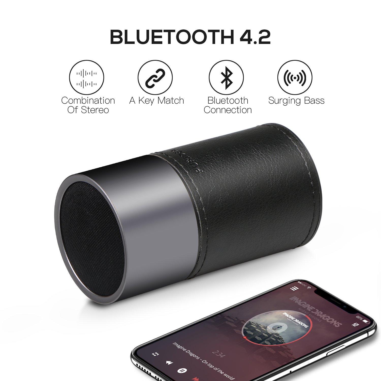 Subwoofer Inal/ámbrico Port/átil con 300 Minutos de Emisi/ón Continua Manos Libres,360 /°Sonido Envolvente Est/éreo con HD Sonido y Bluetooth V4.2 Negro 1PACK Altavoz Bluetooth,PURIDEA Mini i6