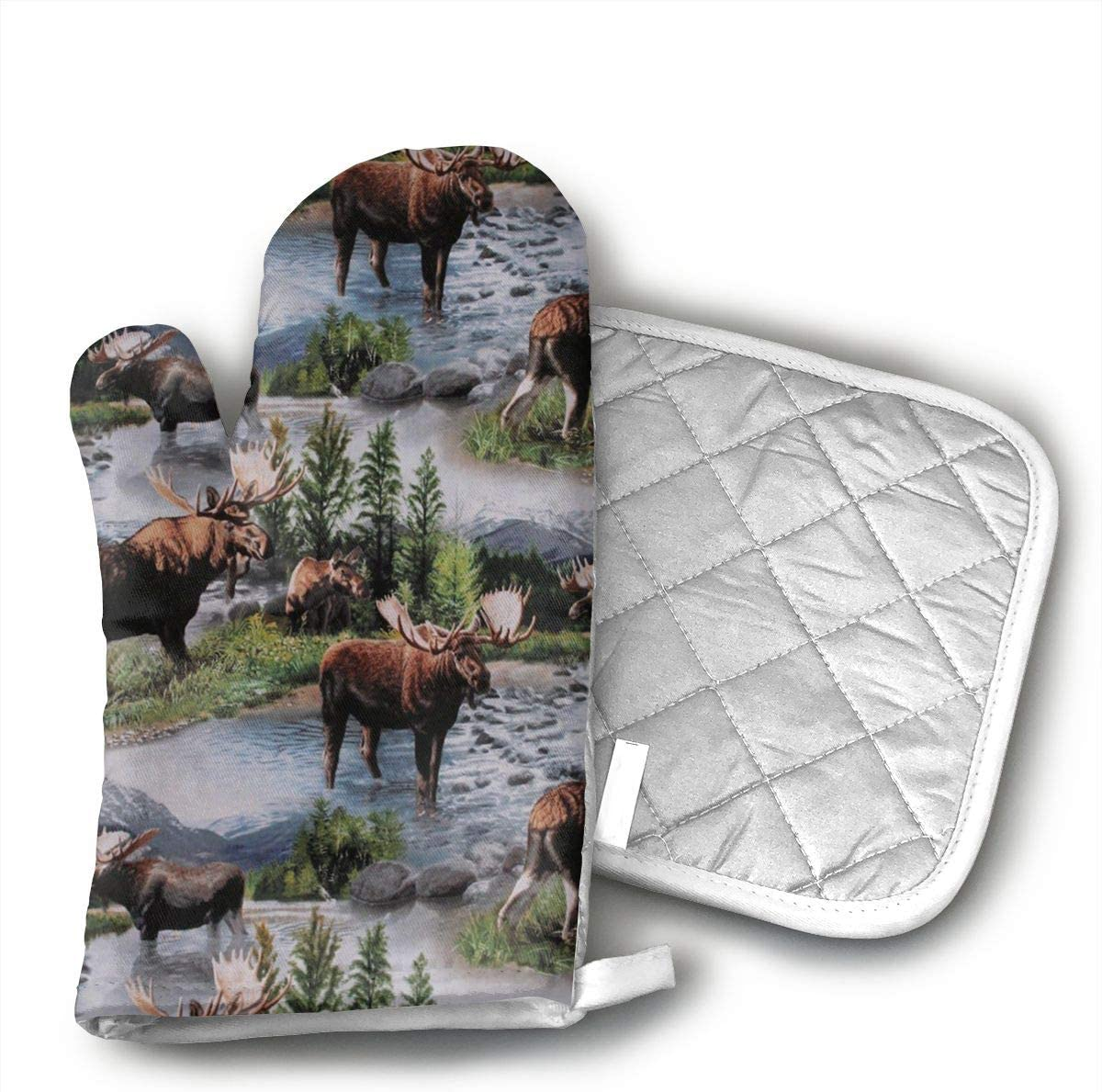 Ruwoi6 Bull Moose Nature Scenic Wildlife Animals Lake Oven Mitts Heat Resistant Cooking Gloves Non-Slip Grip Pot Holders for Kitchen Oven, BBQ Grill and Fire Pits Ideal for Cooking.