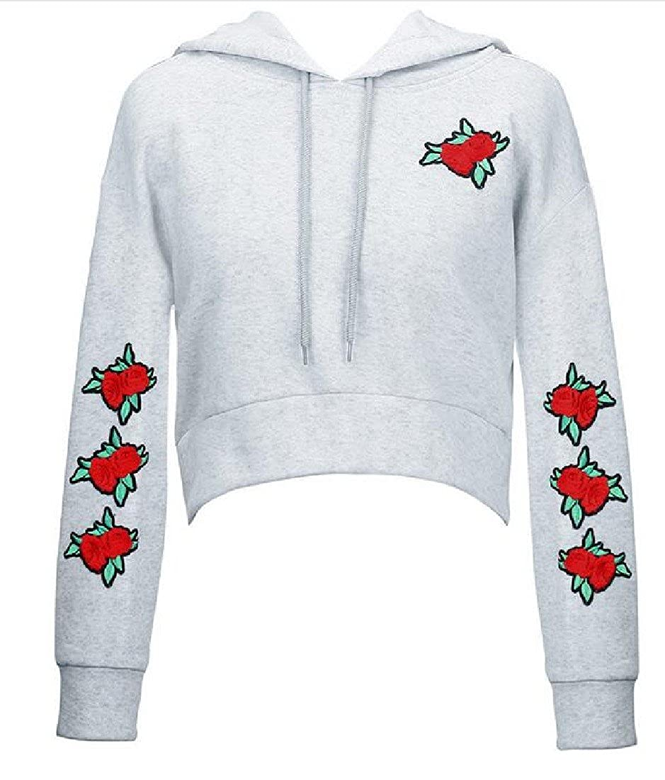 Ruhua Womens Crop Top Short Hooded Wild Embroidery Pullover Hoodies