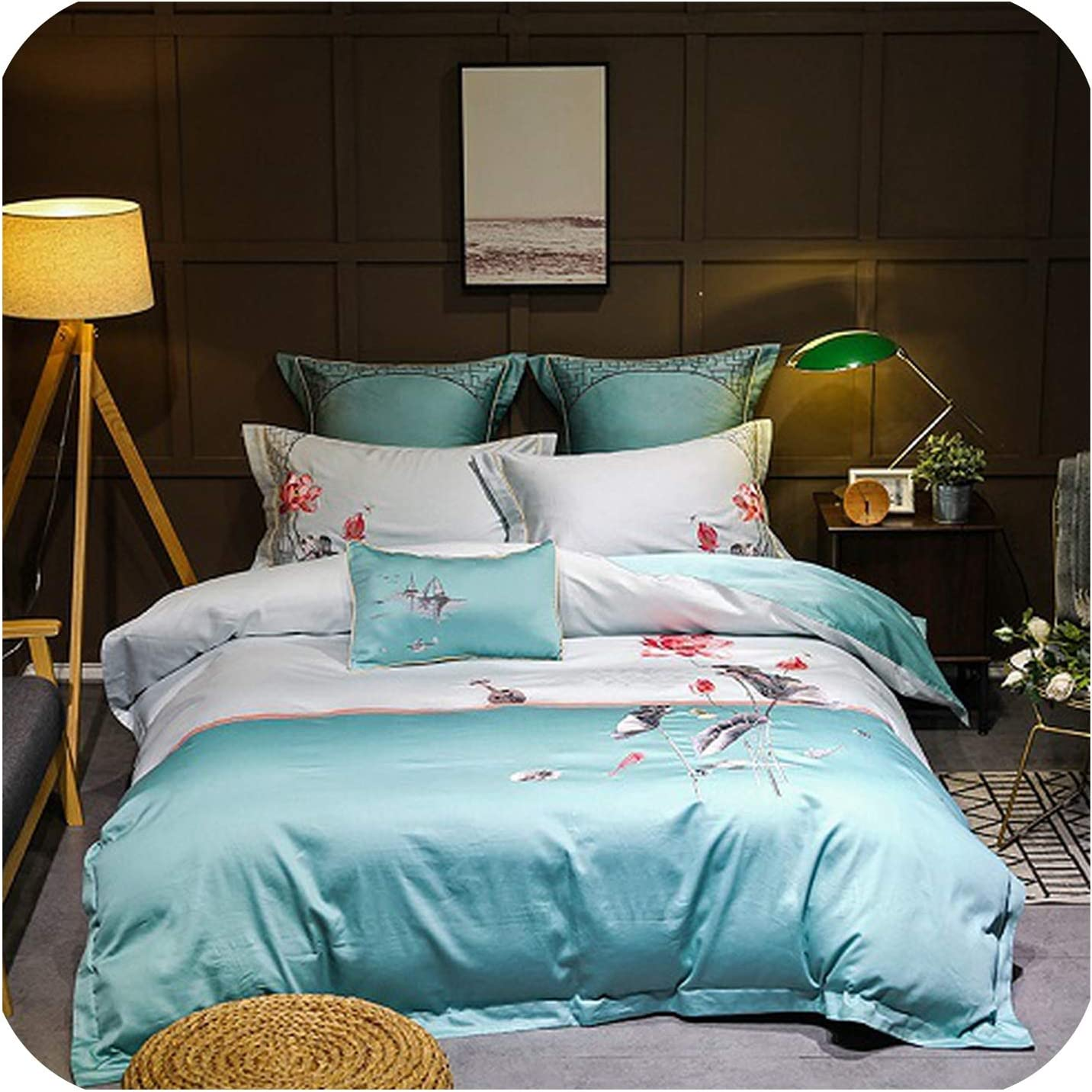 S-paw Oriental Embroidery Golden Grey Bedding Set Queen King Size Egyptian Cotton Bed Set Duvet Cover Bed Sheet/Linen Set,Color 2,King Size 4Pcs