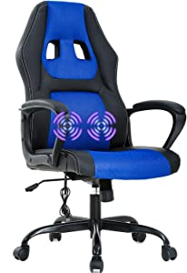 Gaming Chair Office Chair Desk Chair Massage Ergonomic PU Leather Computer Chair with Lumbar Support Headrest Armrest Task Rolling Swivel Racing Chair for Adults(Blue)