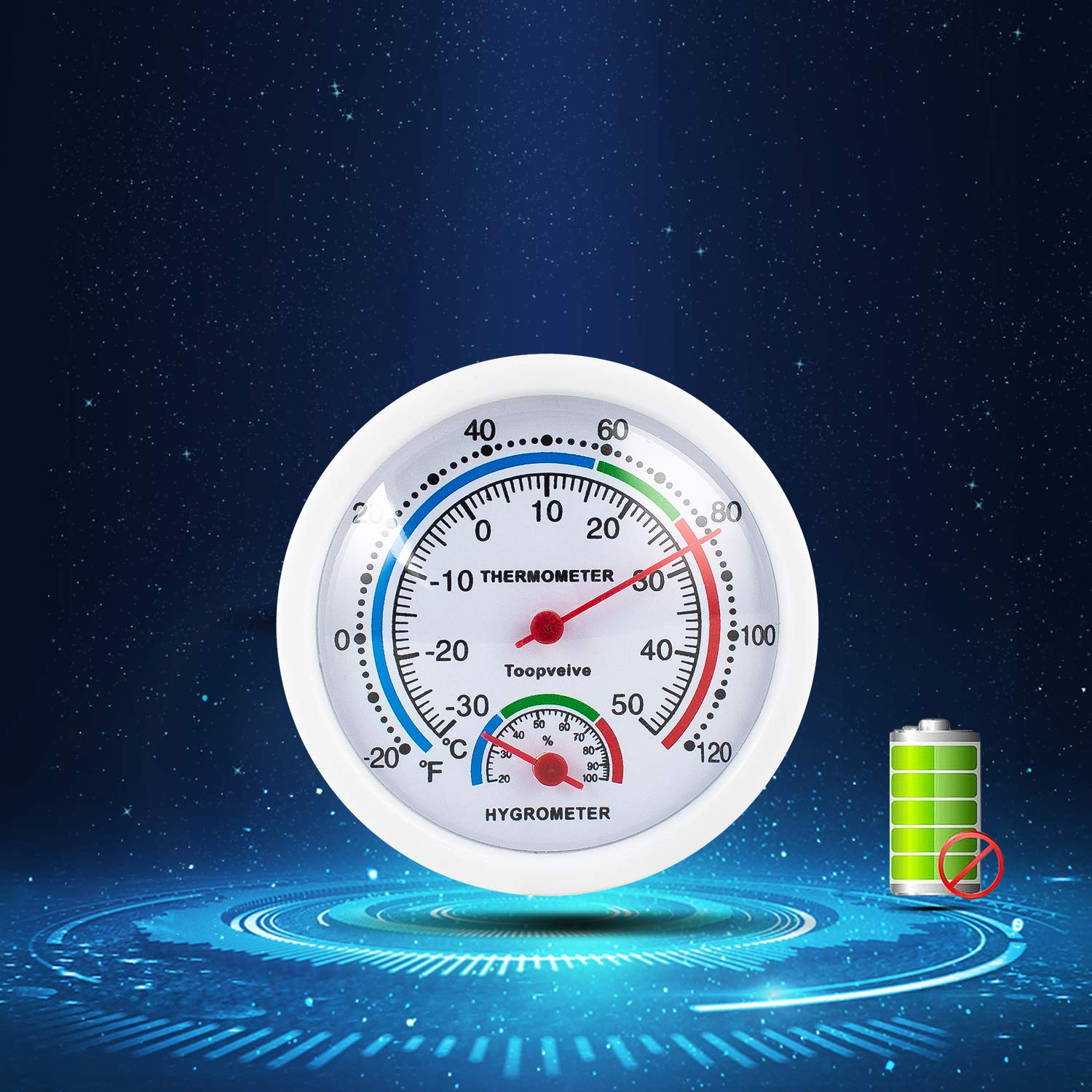 No Battery is Required Toopveive Indoor Hygrometer // Thermometer 2 Pack 2 Dia Round Humidity Gauge Indicator Temperature Humidity Monitor -White