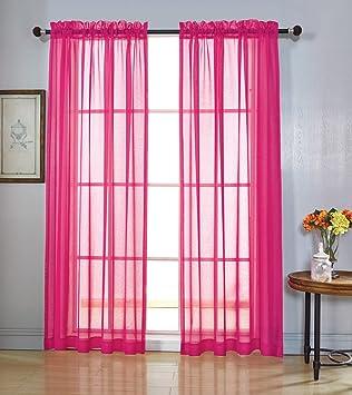 MYSKY HOME Rod Pocket Window Voile Sheer Curtains Fuschia 52 X 84 Inch