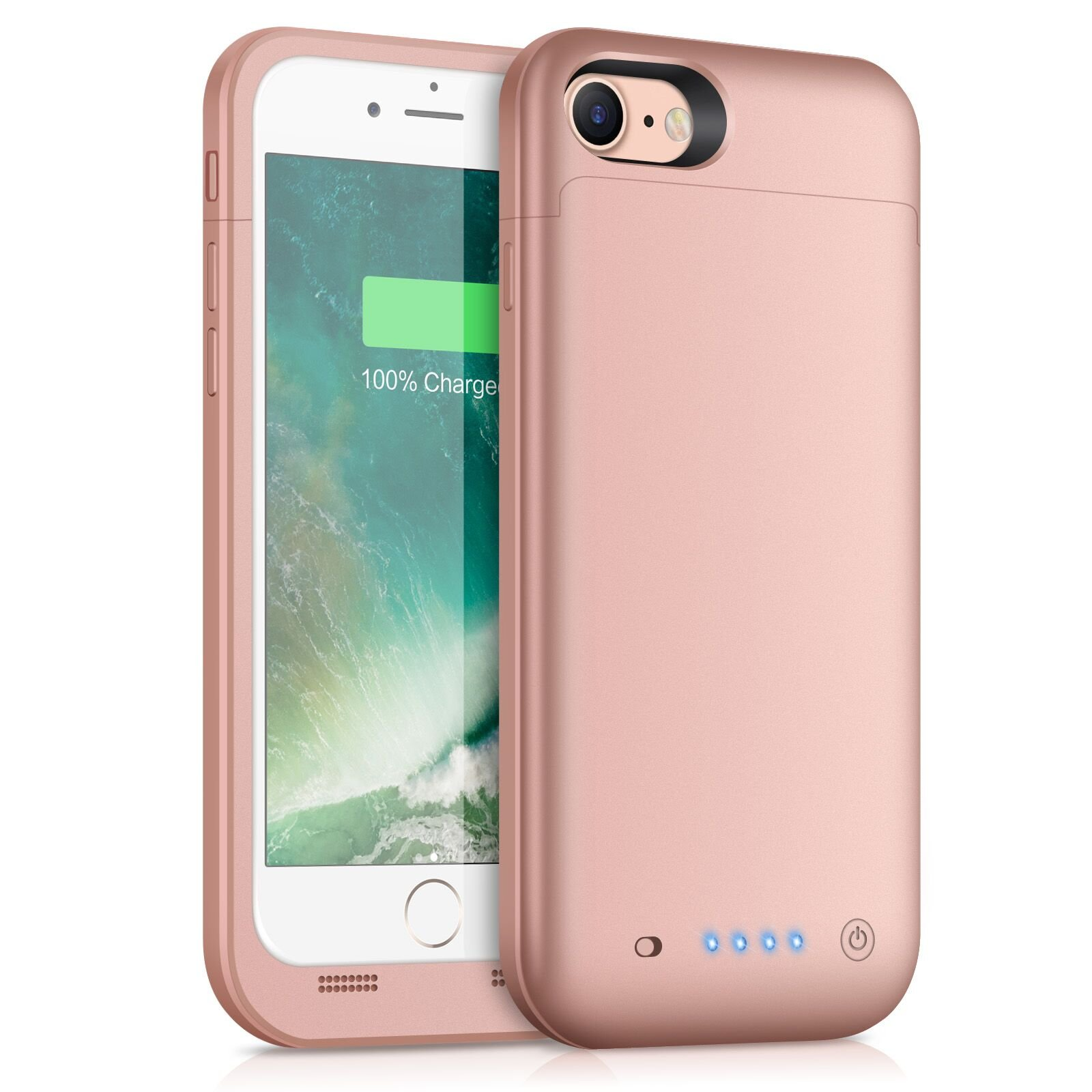 iPhone 8/7 Battery Case [4500mAh] Capacity, Gixvdcu Rechargeable Portable Protective Charger for Apple iPhone 8 & 7 (4.7 Inch) Extended Charging Case Pack Juice Bank - Rose Gold