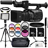 Panasonic AG-UX90 4K/HD Professional Camcorder 13PC Accessory Bundle – Includes 2x 64GB SD Memory Cards + 3 Piece Filter Kit (UV + CPL + FLD) + MORE