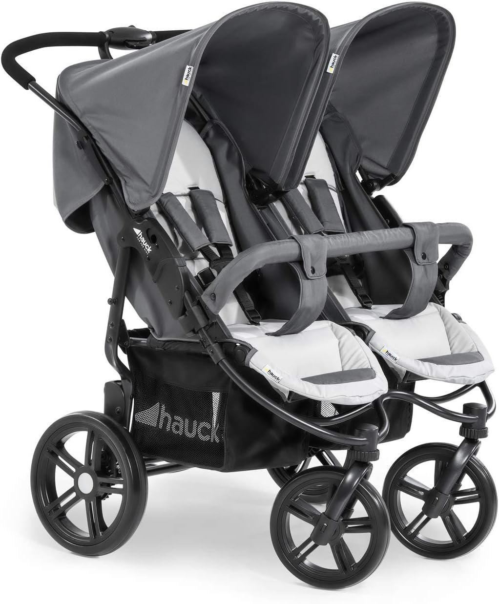 Hauck Roadster Duo SLX - silla gemelar para gemelos y hermanos de 0 meses (combinable con capazo blando) a 30 kg (2x 15kg) ancho 76cm, plegable ultracompactam, Grey Silver (Gris)