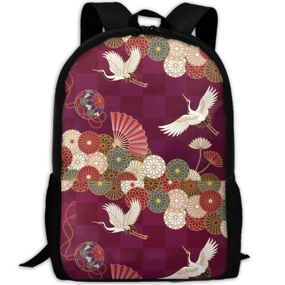 durable service Japanese Traditional Crane Luxury Print Men And Women's Travel Knapsack