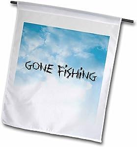 3dRose fl_172371_1 Gone Fishing, Clouds Background, Black Lettering Garden Flag, 12 by 18-Inch