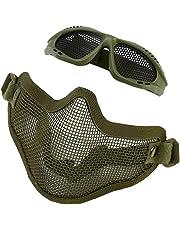 Alomejor Mesh Mask Adjustable Half Metal Steel Mesh Face Mask And Goggles Set For Hunting, Paintball And Shooting