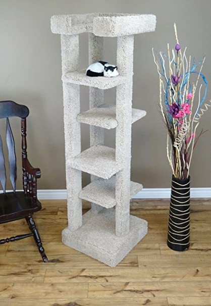 7d2bfbe38504 Amazon.com : New Cat Condos Solid Wood 5 Level Cat Tree Tower, Beige ...