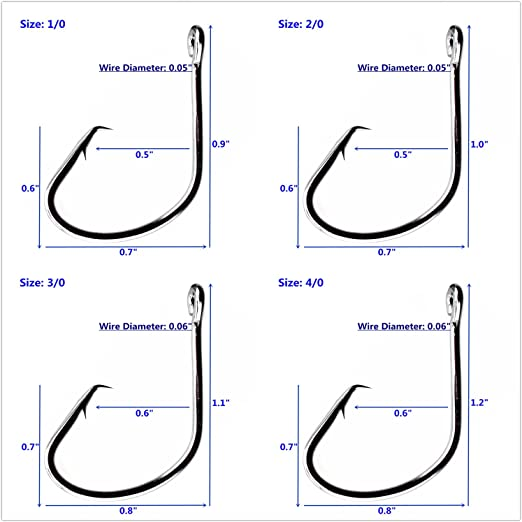 25 Size 6//0 Custom Offshore Tackle Circle Non Offset Inline Hooks