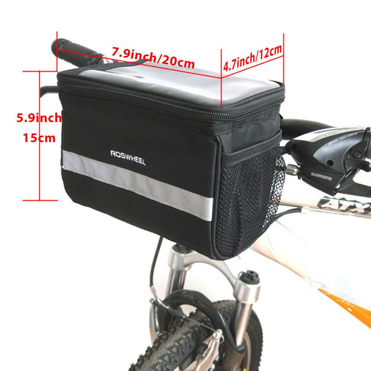 TRADERPLUS Bicycle Basket Handlebar Bag with Sliver Grey Reflective Stripe for Mountain Bike Outdoor Activity Cycling Pack Accessories 3.5L by TRADERPLUS (Image #7)
