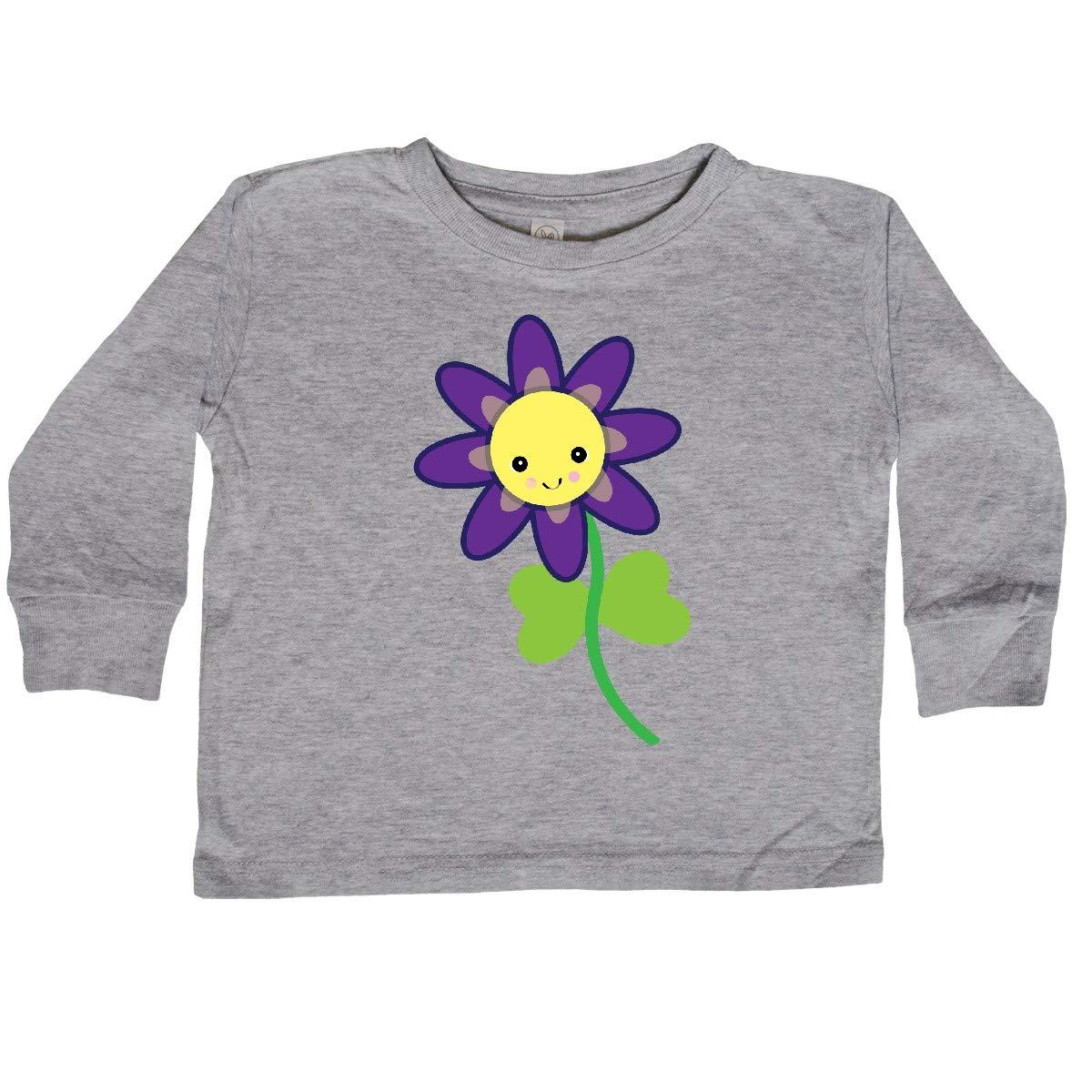 inktastic Cute Kawaii Purple and Yellow Flower Toddler Long Sleeve T-Shirt