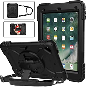 BMOUO iPad 6th Generation Case,iPad 5th Generation Case,iPad 9.7 Case,iPad Air 2 Case,3 Layer Shockproof [360 Swivel Stand][Hand Strap][Pencil Holder] Kids Case for iPad 9.7 inch 2018/2017,Black