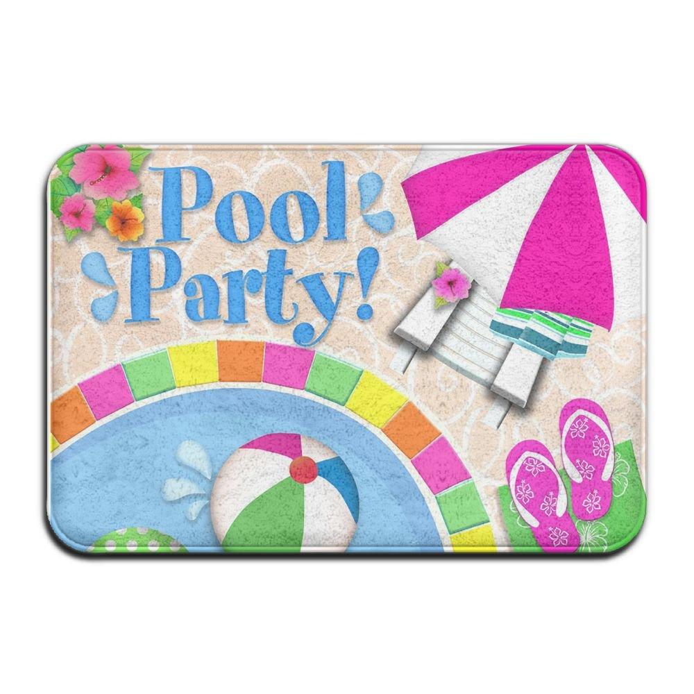 BINGO BAG Pool Party Indoor Outdoor Entrance Printed Rug Floor Mats Shoe Scraper Doormat For Bathroom, Kitchen, Balcony, Etc 16 X 24 Inch