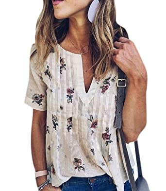 eec5598a1d3 MLG Women s Plus-Size Baggy Tops Fashional Floral Tops T Shirts Blouse XS