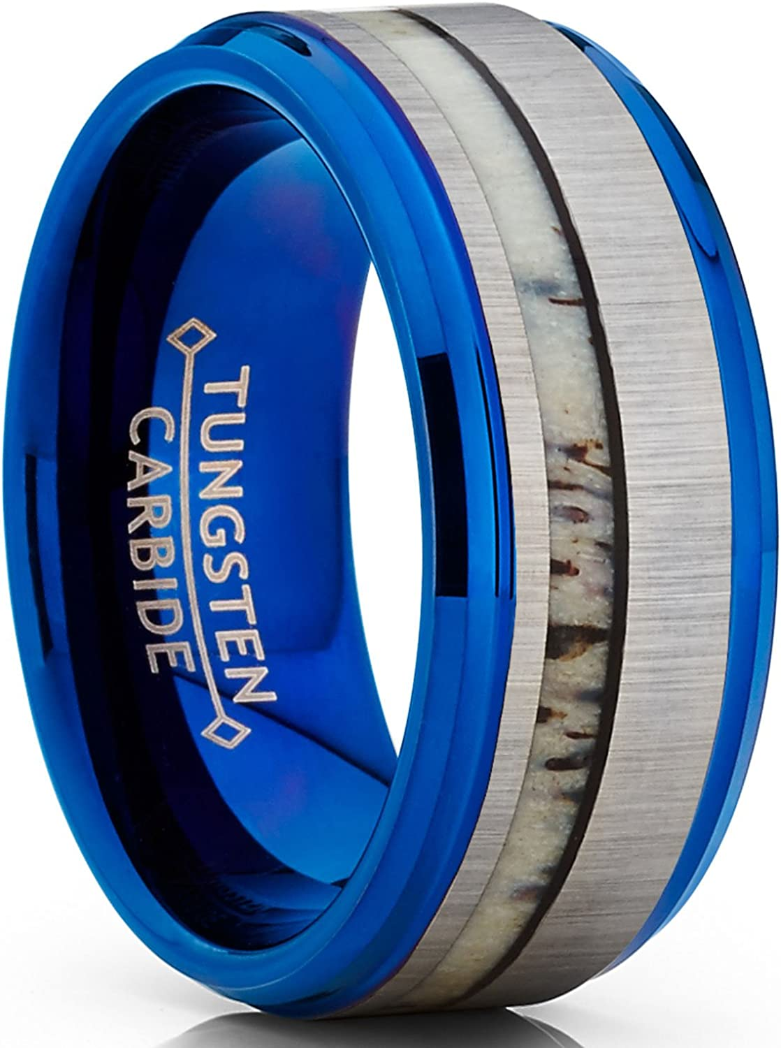Metal Masters Co. Tungsten Carbide Blue Wedding Band Ring Real Deer Antler Inlay Comfort Fit 9mm