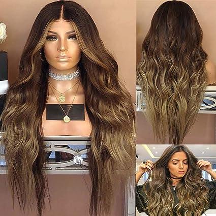Peluca marron rizada larga peluca de pelo sintética marrón ...