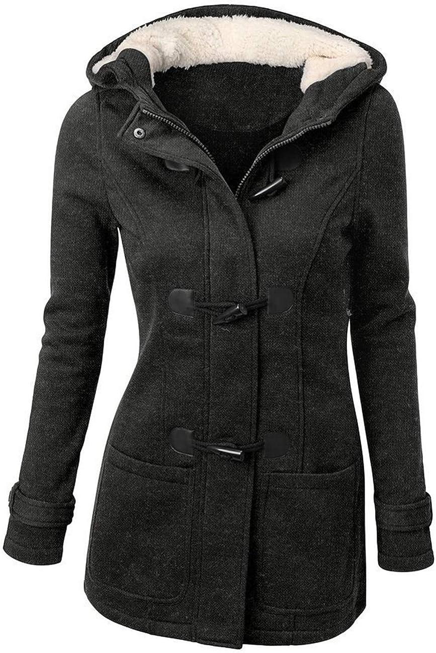 Hoodie d'hiver Slim pour Capuche Épais Épais à Jacket Asskdan Longues Bouton Manteau Chaud Manches Outwear Blouson Veste Femme DWYH9I2E
