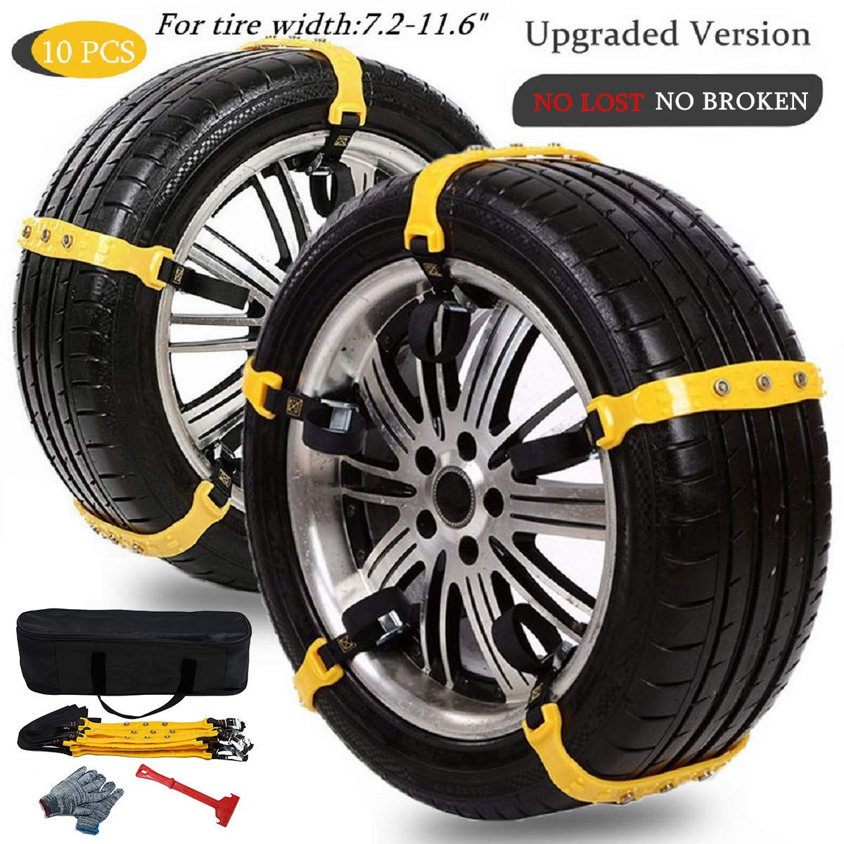 Anti Slip Snow Chains for SUV Car Adjustable Universal Emergency Thickening Anti Skid Tire Chain,Winter Driving Security Chains,Traction Mud Snow Chains for Car/Truck Tire Width 7.2-11.6'',10 Pcs