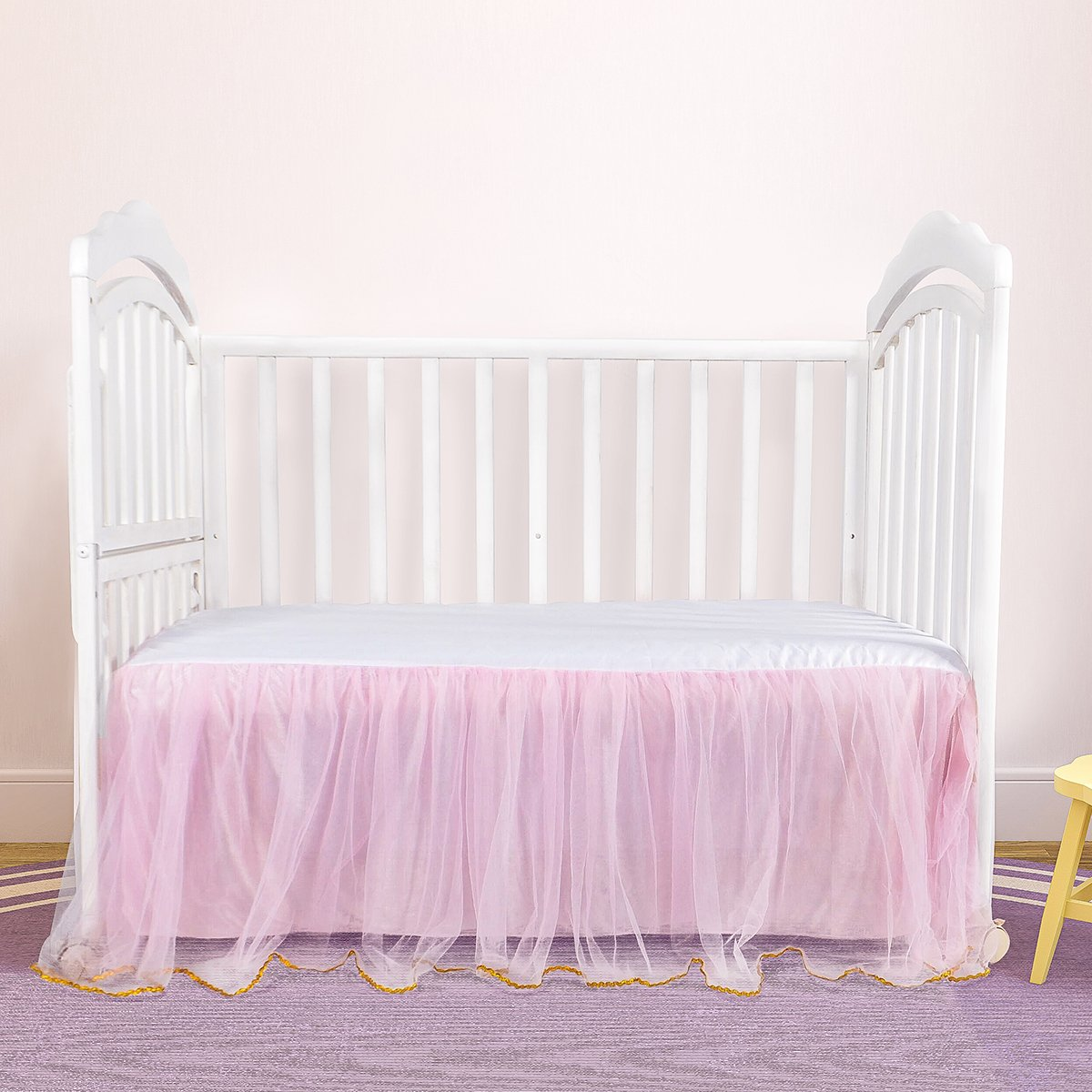 Pink Toddler Bed Skirt Mini Crib Skirt for Baby Boys and Girls Tulle Tutu Bed Skirt Fluffy for Baby Birthday Party,Baby Shower,Slumber Party and Babyroom Decoration