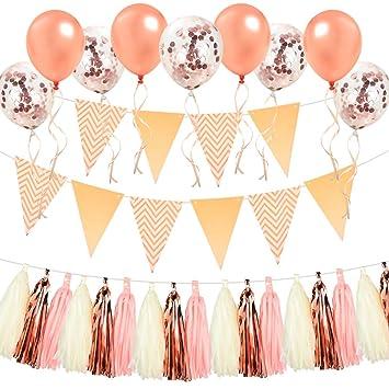 subió boda decoración-30 paquete de oro rosa de oro globos confeti ...