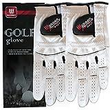 WARMEN Size Updated - 2 Pack Golf Gloves for Men - Premium Cabretta Leather Glove Left Hand