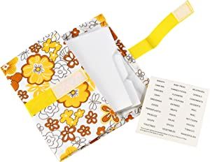 """HOME-X Labeled Coupon Organizer, Expandable Fabric Envelope, Attach to Cart – 24 Dividers 8"""" L"""