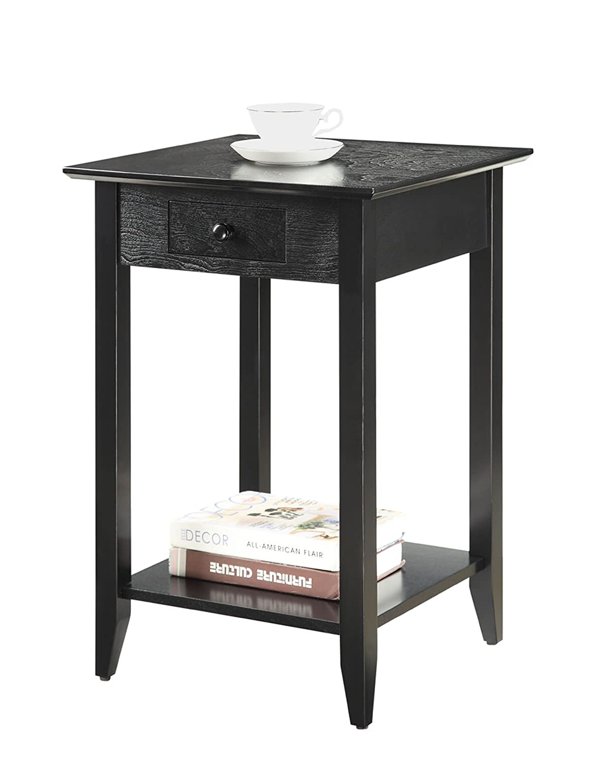 End table with drawer - Amazon Com Convenience Concepts American Heritage End Table With Shelf And Drawer Black Kitchen Dining