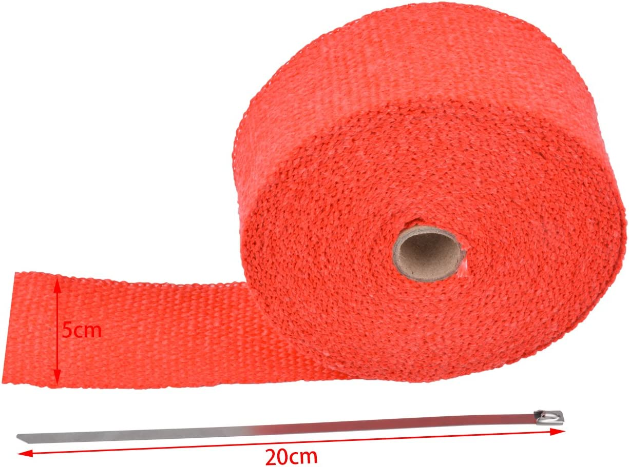 KaTur 2 x50Ft Exhaust Heat Wrap Tap Header Glassfiber Wrap Kit with 8pcs 11.8 Inch Stainless Locking Ties White