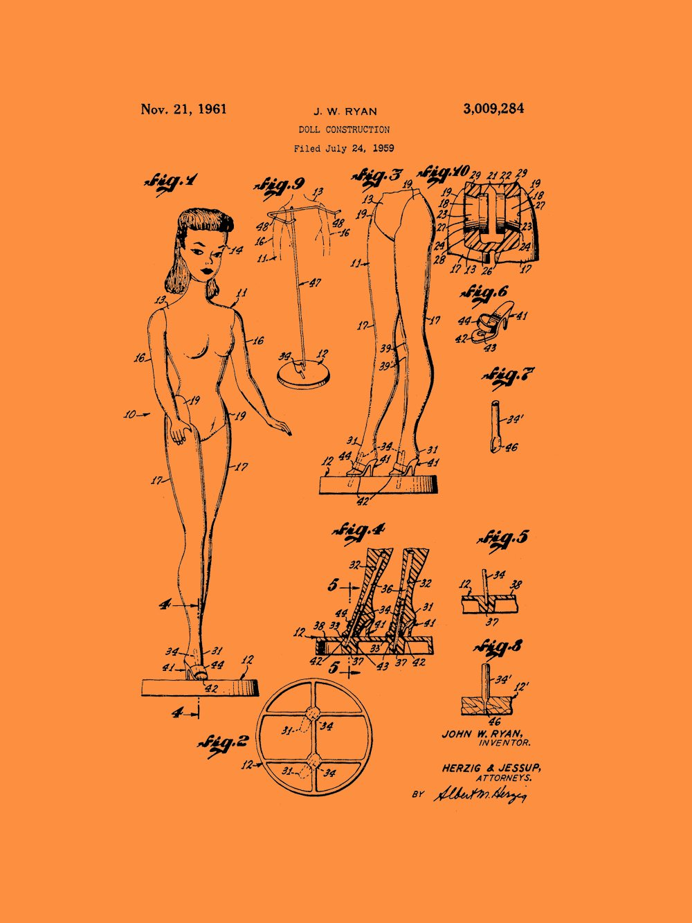 Framable Patent Art PAPSP57VO The Original Ready to Frame D/écor Barbie Doll Classic Retro Girls 18in by 24in Patent Art Poster Print Vintage Orange