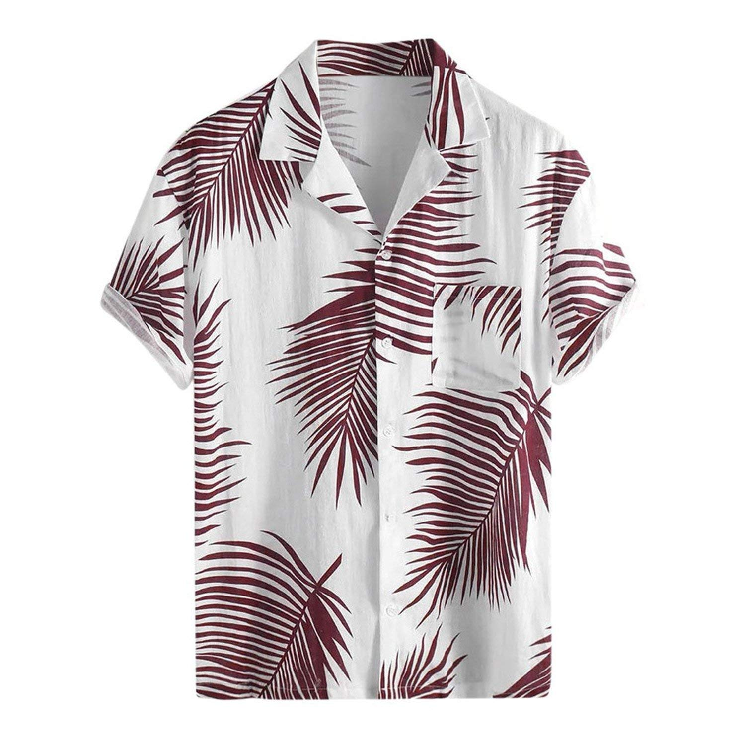 Mens Chemise Summer Button Hawaii Print Beach Pocket Short Sleeve Top Blouses,Red,M,C