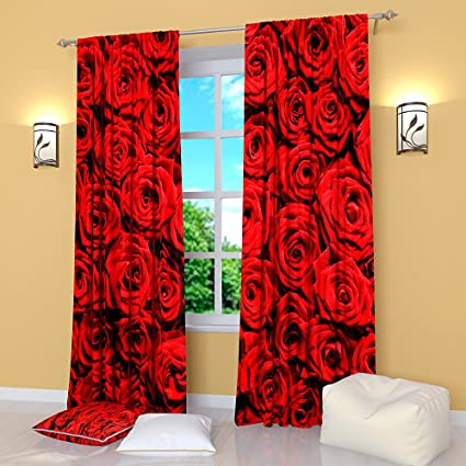 Merveilleux Red Curtains Collection By Factory4me Bouquet Of Red Roses. Window Curtain  Set Of 2 Panels