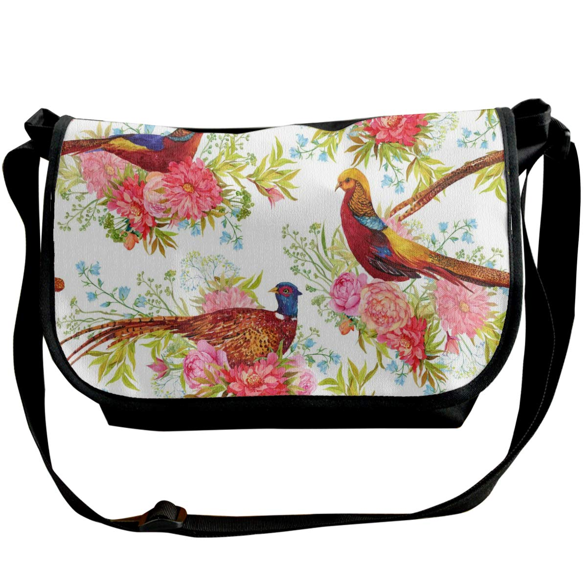 Taslilye For Fabric Birds Pheasants And Flowers Watercolor Illustration Personalized Wide Crossbody Shoulder Bag For Men And Women For Daily Work Or Travel
